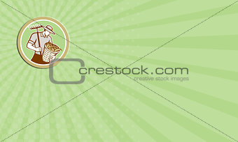 Business card Organic Farmer Holding Rake Harvest Basket Retro