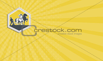 Business card Farmer and Horses Plowing Field Crest Retro