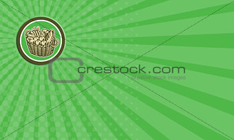 Business card Crop Harvest Basket Circle Retro