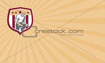 Business card Construction Worker Jackhammer Shield Retro