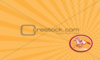 Business card Jockey Riding Horse Racing Circle Retro