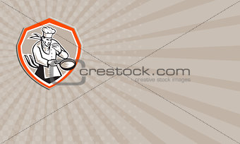 Business card Chef Cook Holding Frying Pan Retro