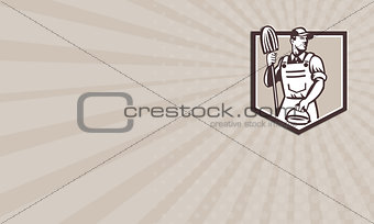 Business card Janitor Cleaner Holding Mop Bucket Shield Retro