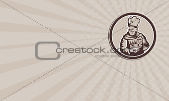 Business card Chef Cook Mixing Bowl Woodcut Retro