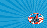 Business card American Gardener Mowing Lawn Mower Retro