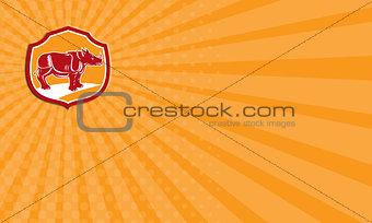 Business card Rhinoceros Standing Shield Retro