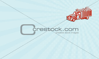Business card Vintage Pickup Truck Delivery Harvest Retro