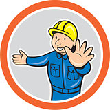 Builder Hands Out Circle Cartoon