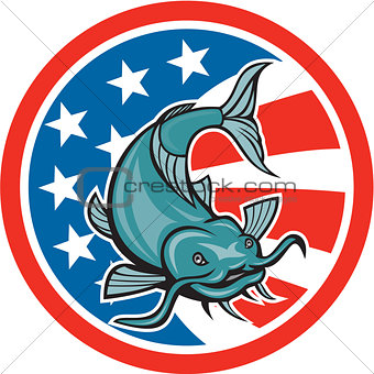 Catfish Swimming American Flag Circle Cartoon
