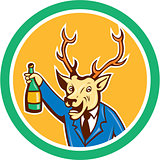 Stag Deer Holding Wine Bottle Circle Cartoon