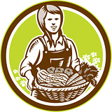 Organic Female Farmer Farm Produce Harvest Woodcut
