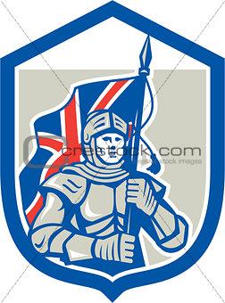 Knight Holding British Flag Shield Retro