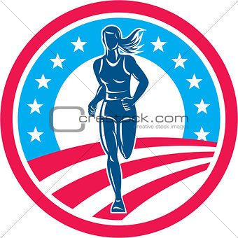 American Female Triathlete Marathon Runner Circle