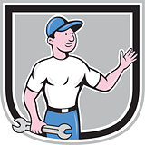 Mechanic Hold Spanner Waving Hand Cartoon