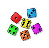 Coloured playing dices with shadow