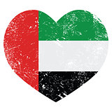 The United Arab Emirates retro heart shaped flag