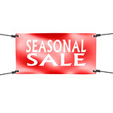 Banner seasonal sale with four ropes on the corner