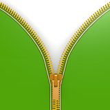 Isolated green zipper