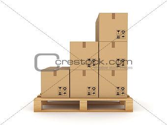 Carton box on a pallet.