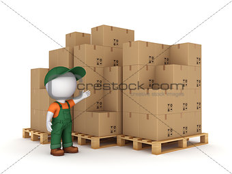 3d small person and carton boxes.