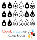 blood,oil or water droplet icons