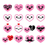 Kawaii hearts, Valentine's Day cute vector icons set