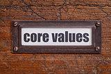 core values - file cabinet label