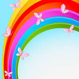 Rainbow sky with butterfly