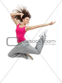modern slim hip-hop style dancer teenage girl jumping dancing
