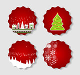 Set of Labels with Christmas BALLS, Stars and Snowflakes, Illust