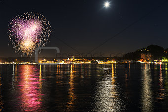 Fireworks on the lakefront of Arona - Piedmont