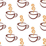 Seamless pattern of steaming  cup of coffee