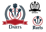 Darts sporting emblems or badges