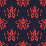 Seamless red colored floral arabesque pattern