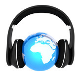 earth with headphones. World music concept