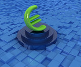 Euro sign on podium. 3D icon on urban background