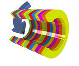 3d colorful abstract cut pipe and arrow
