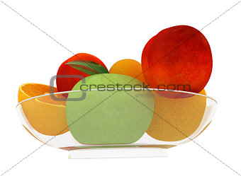 Citrus and apple on a plate