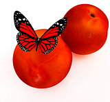 Red butterflys on a fresh peaches