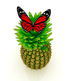 Red butterflys on a pineapple