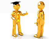 Golden 3D mans in a grad hat and a man