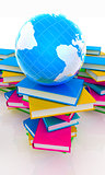 Colorful books and earth