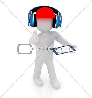 3d white man in a red peaked cap with thumb up, tablet pc and he