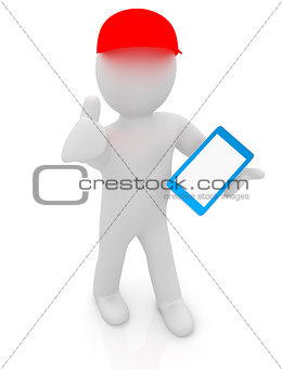 3d white man in a red peaked cap with thumb up and tablet pc