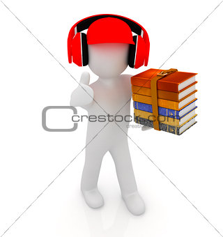 3d white man in a red peaked cap with thumb up, books and headph