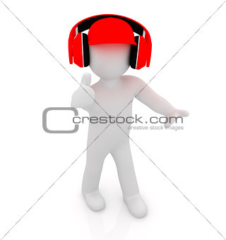 3d white man in a red peaked cap with thumb up and headphones