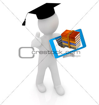 3d white man in a grad hat with thumb up,books and tablet pc - b
