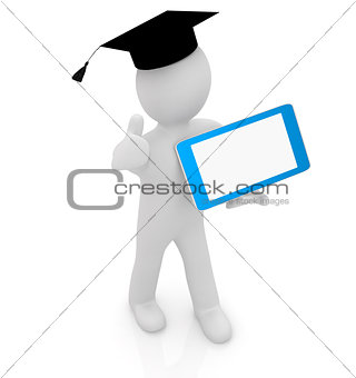 3d white man in a grad hat with thumb up and tablet pc - best gi
