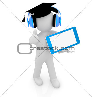 3d white man in a grad hat with thumb up, headphone and tablet p