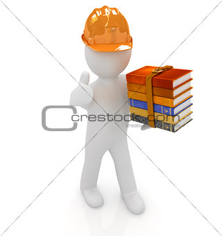 3d man in a hard hat with thumb up presents the best technical l